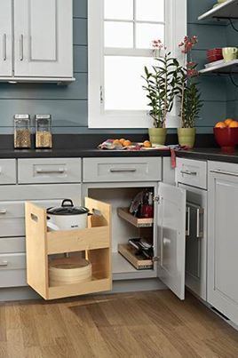 corner cabinet idea....pull out shelves for the far back and the front part swings out so you can get to the drawers!