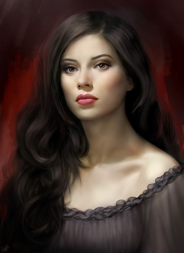 Pale woman with long dark hair, red lips, wearing a dark dress.