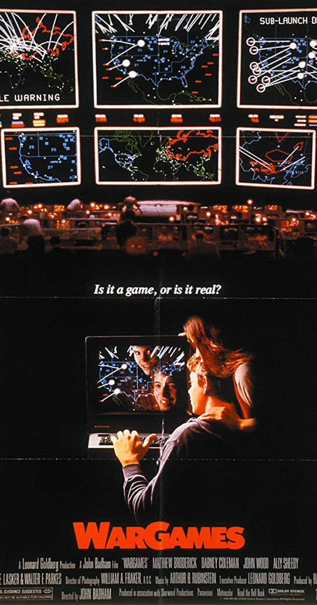 Directed by John Badham.  With Matthew Broderick, Ally Sheedy, John Wood, Dabney Coleman. A young man finds a back door into a military central computer in which reality is confused with game-playing, possibly starting World War III.
