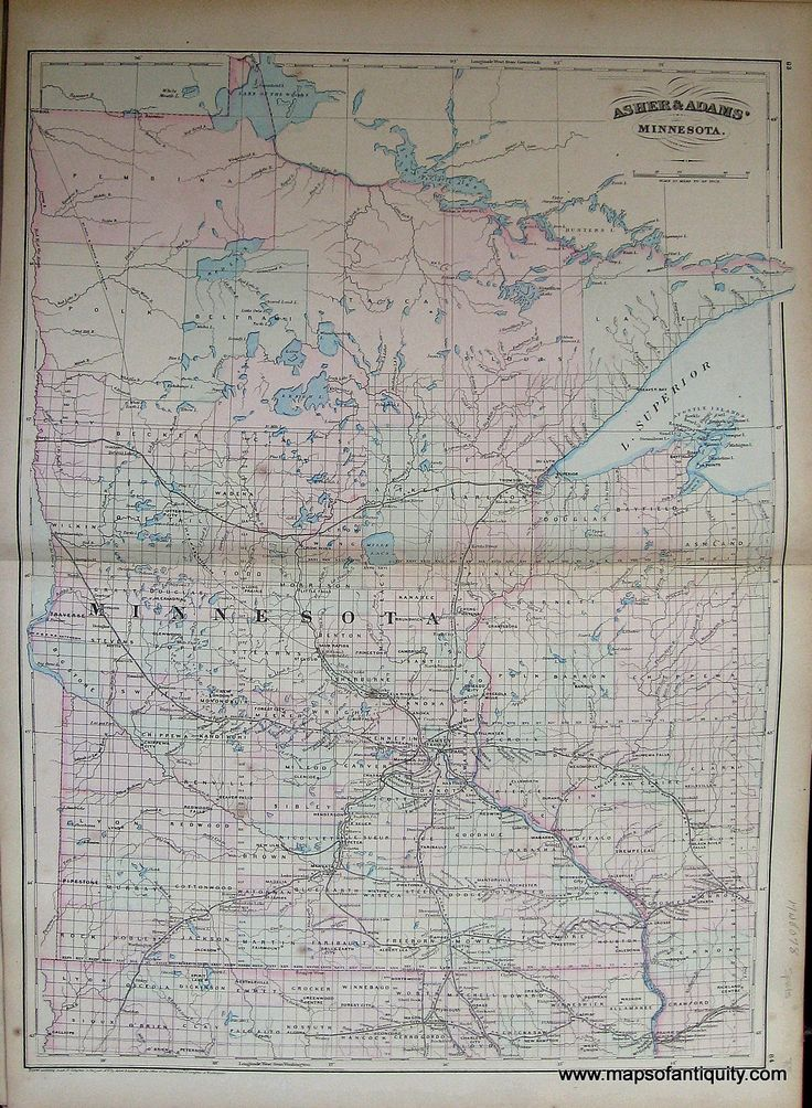 Antique 1872 Map of Minnesota Available in