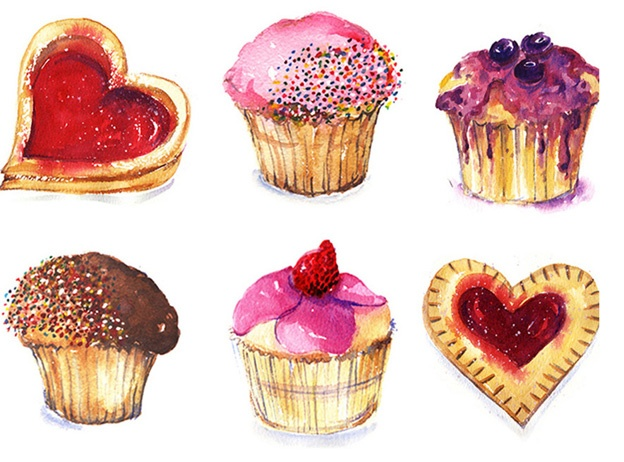 watercolor pastries and cakes - Lucy King