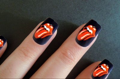 Rolling Stones nail art!! #HellzYeahh