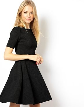 Image 1 of ASOS Structured Skater Dress In Heavy Rib // If it had pockets it'd be the perfect dress.