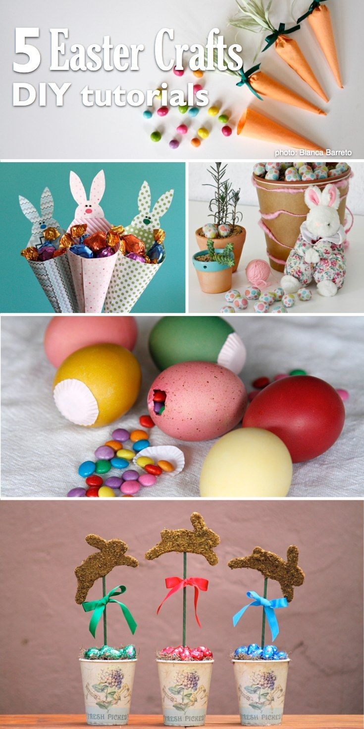 If you are looking for Easter crafts to make with your kids, you can't miss these five super cool ideas. I love these DIY tutorials. Candy carrots, moss bunnies, M&M eggs and more. Your kids will love to spend some time with you making these craft projects!