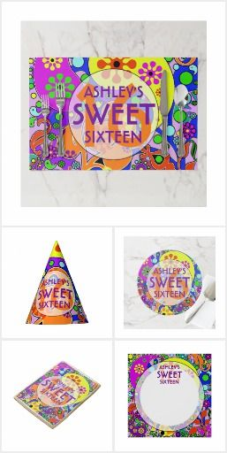Colorful Sweet 16 Birthday Decorations Colorful Sweet 16 birthday party invitations, decorations and gifts.