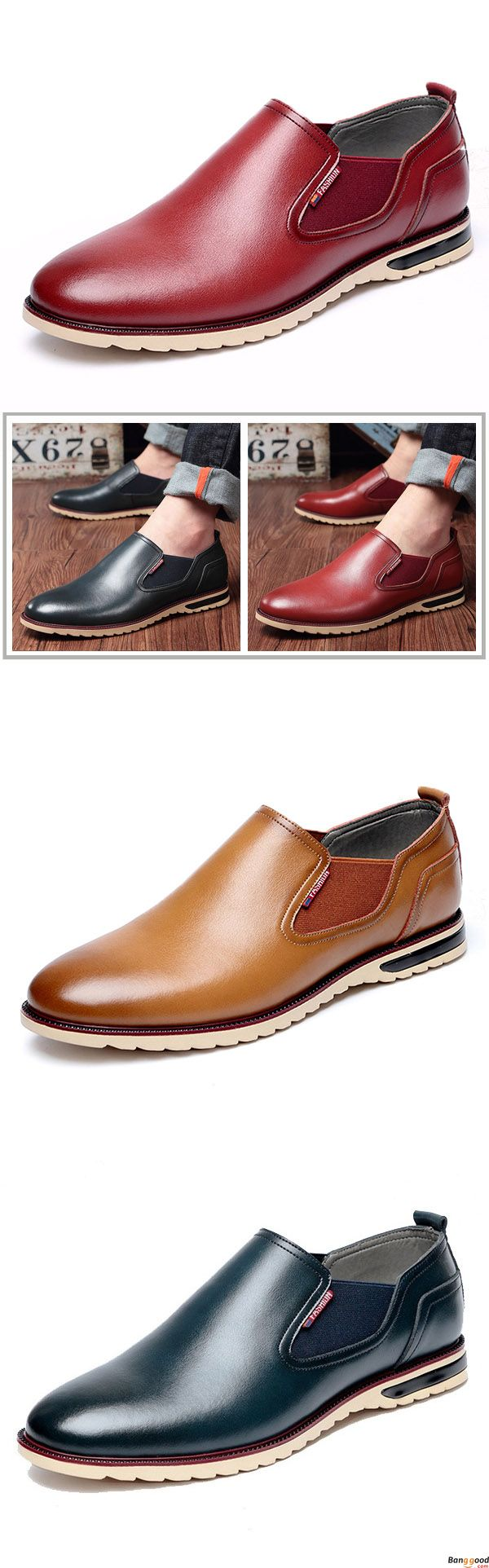 Men Leather Shoes Business Outdoor Slip On Oxfords.