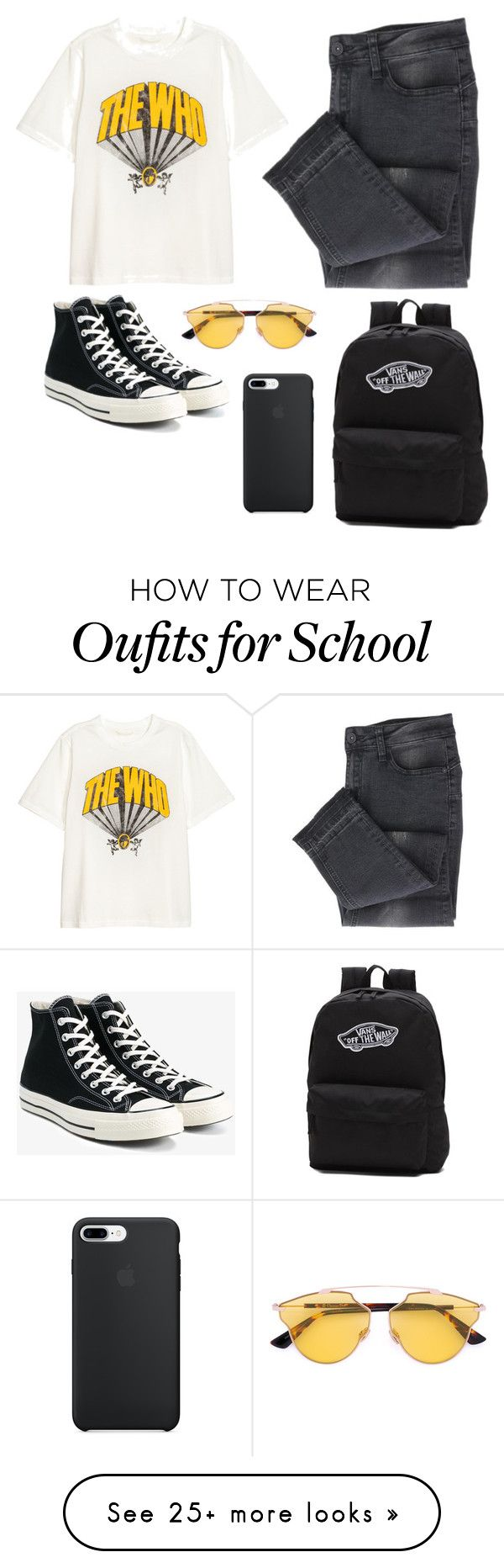 """""""School"""" by kpescobar on Polyvore featuring Converse, Vans and Christian Dior"""