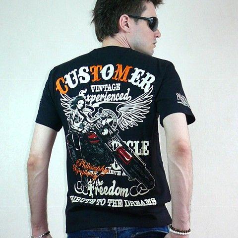 Мужская японская футболка в байкерском стиле TRIBUTE TO THE DREAM. Мужские джинсы. CoolTokyo.Ru - стильная мужская одежда, кимоно, аксессуары из Японии.