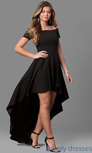 Shop off-the-shoulder party dresses at Simply Dresses. Cheap semi-formal dresses under $100 with short sleeves and high-low long skirts.