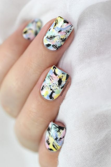 Marine Loves Polish: Nailstorming - Tons Pastels [VIDEO TUTORIAL] - Pastel dry brush - spring & summer nail art - distressed nails