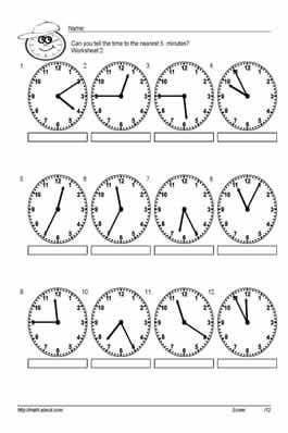 Grade 2 math worksheet - Clock: telling time - 1 minute intervals ...