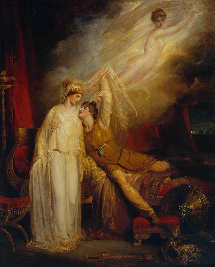 L'art magique: Richard Westall : La réconciliation de Hélène et Paris après sa défaite par Ménélas, 1805