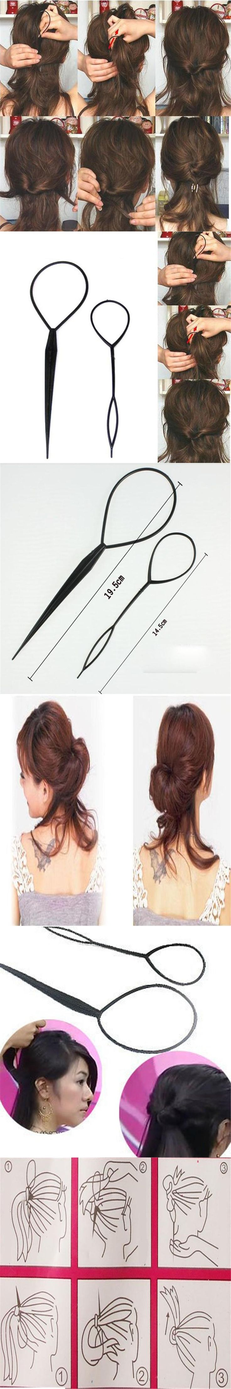 Set of 2 Pcs Fashion Topsy Tail Hair Braid Pony Tail Maker Styling Tool Salon