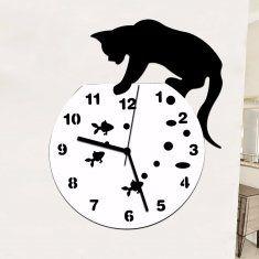 Tanque padrão preto cat fish mute quartzo pendurado decoração relógio relógio de parede da sala de casa