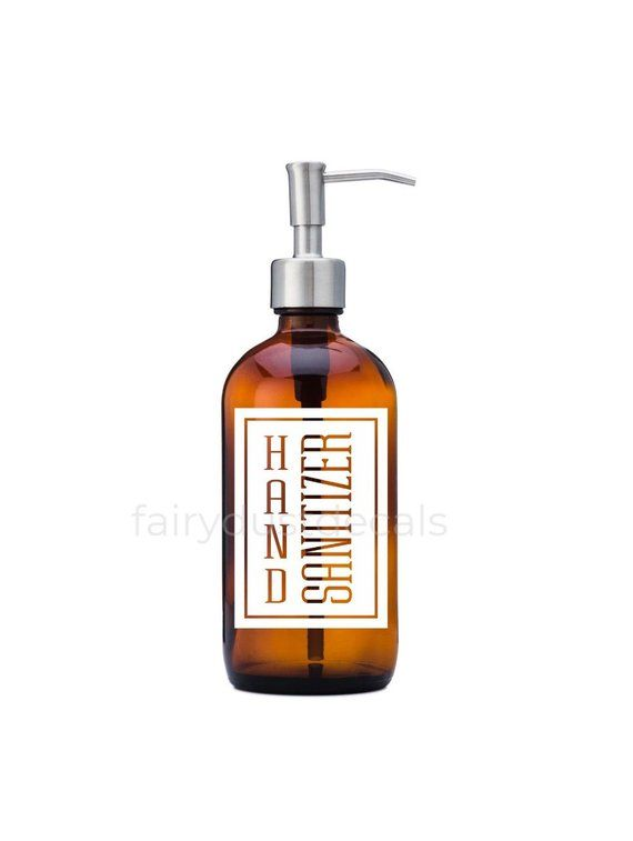 Hand Sanitizer Label For Dispenser Bottle Square Design Vinyl