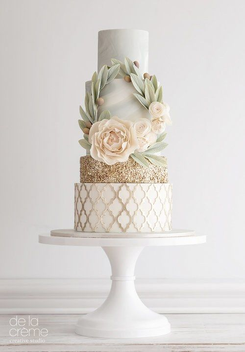 Peach, Mint, and Gold Wedding Cake with Wreath
