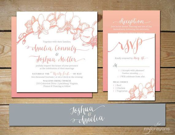 Ombre Orchid Wedding Invitation Set by MyCrayonsPapeterie // Rustic, Blush Pink and Gray, Grey, Whimsical Wedding Invite