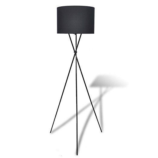 VidaXL Stehlampe Stehleuchte Lampe Wohnzimmerlampe Standleuchte Lampenschirm Schwarz