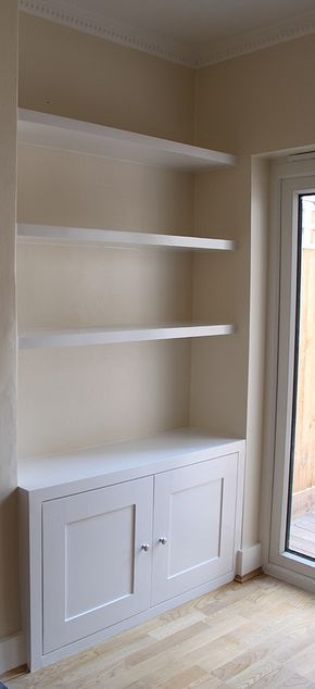 Like the clean lines here but what would look good behind the shelves? Do I want walls on show? Wallpaper perhaps?
