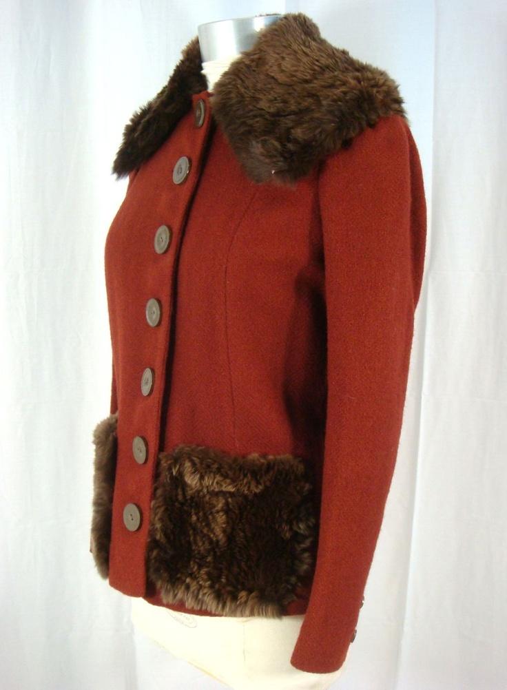 Vintage 30s FOG Fashion Originators Guild Fur Trimmed Copper Wool Jacket XS/S