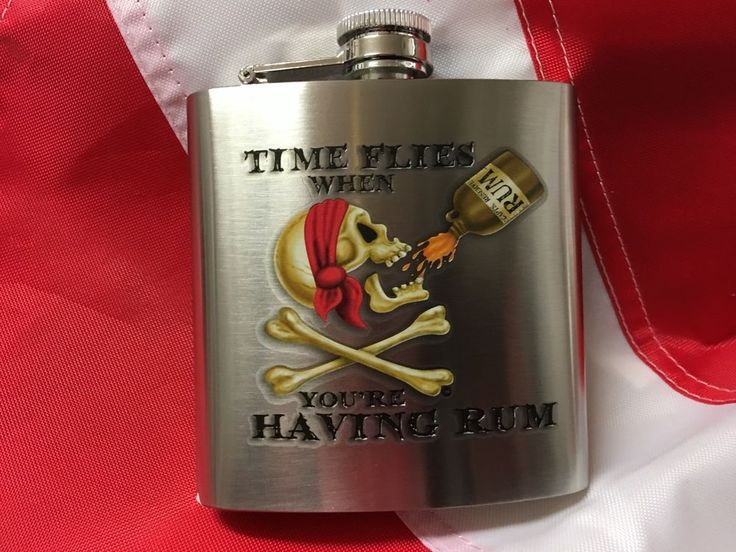 Flask time flys having rum 6oz pirate fun novelty valentines gift travel booze