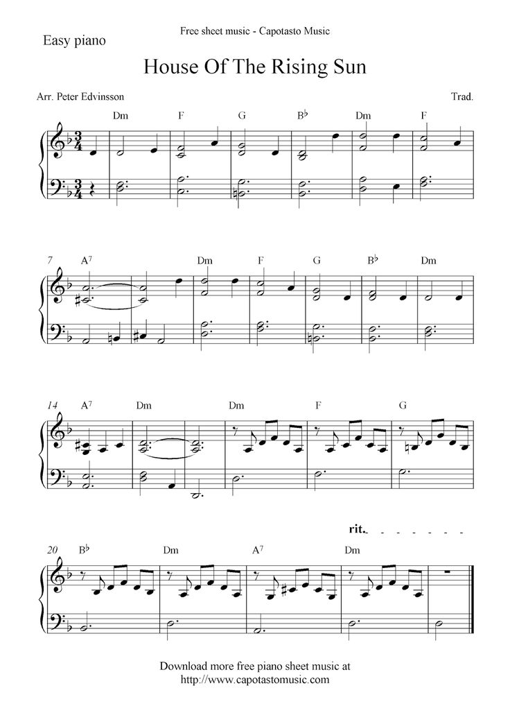 Free piano sheet music solo to the melody House Of The Rising Sun. Printable PDF sheet music notes for easy piano at Capotasto Music!