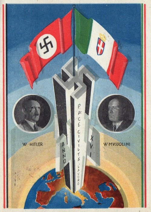 Italy Pictorial Postcard -Adolf and Benito,of course