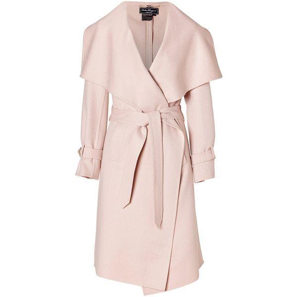 Salvatore Ferragamo Cream Pearl Cashmere And Wool Blend Coat