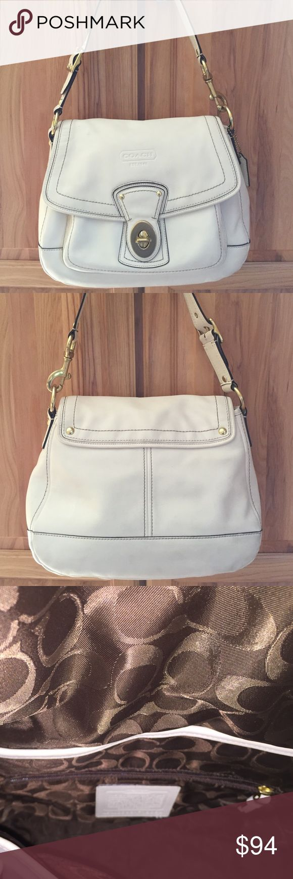 Winter White Coach Purse Buckle flap closure; pocket under flap; zipper pocket and 2 slip in pockets on inside; Coach signature lining. Has been cleaned and moisturized. Ink marks on flap, see last picture. Comes with dust bag. Coach Bags Shoulder Bags