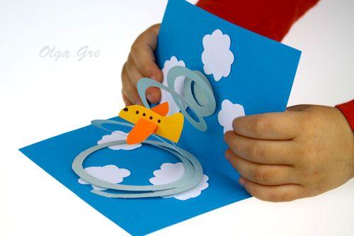 Поделки из бумаги с детьми. Открытка с самолетом своими руками.