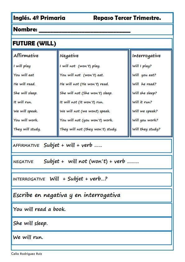 Fichas inglés cuarto primaria. Niños de 9-10 años   Aprender inglés ...