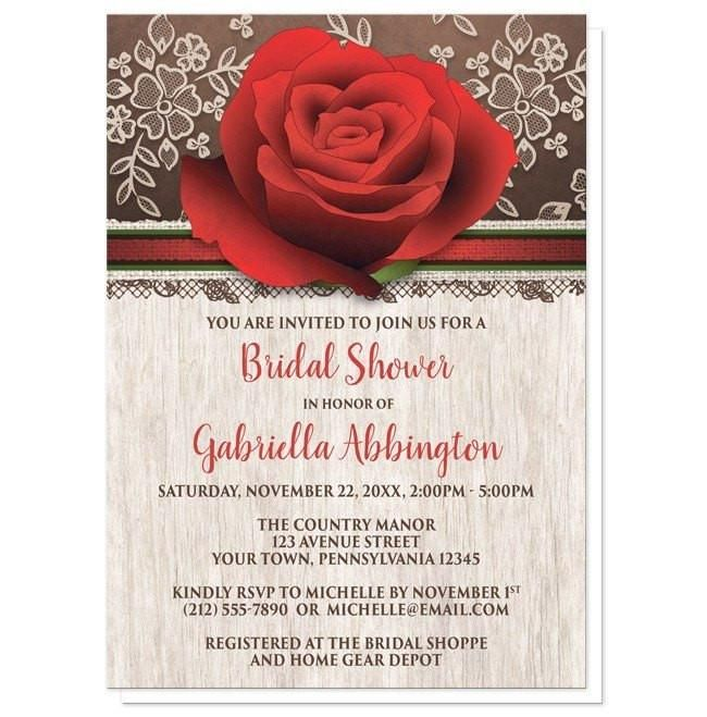 I wanted to share with you these Rustic Wood Lace Red Rose Bridal Shower Invitations? Do you like them?    Rich and beautiful rustic red rose Bridal Shower invitations with a light wood design. Rustic floral Bridal Shower invitations with a large red rose illustration at the top over a rich brown background with a cream lace design. Your bridal shower details are printed in red and brown over a light wood pattern. This rustic red rose and brown drawing makes these invitations a unique and…