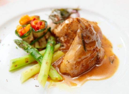 Sous-Vide Rabbit Leg with Muscat Wine, Grilled Young Vegetables and Soft Herbs - Sous-Vide Tools