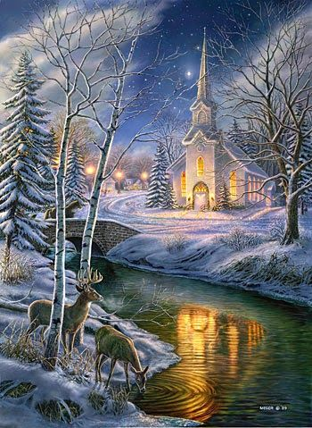 Christmas Scene with Church                                                                                                                                                      More
