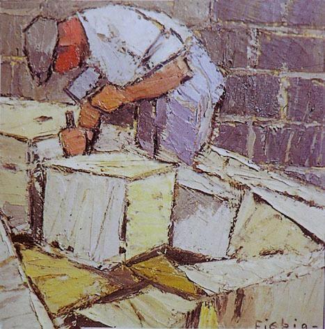 Frederick Fiebig (1885-1953) is een Russisch-Franse kunstschilder, die is voortgekomen uit post-impressionisme en expressionisme. Hij is zijn leven lang een reiziger, langs stad en natuur, waaruit hij zijn inspiratie haalt. Zoekt naar een meer persoonlijke stijl, hij voelt zich aangetrokken tot een vorm van minder figuratieve en experimentele kunst. Dus besluit hij om te vertrekken naar Parijs, de artistieke hoofdstad in zijn tijdperk.