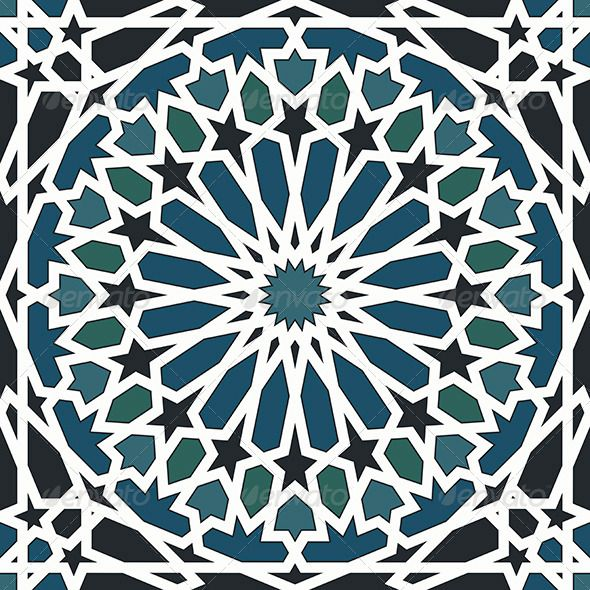 Arabesque Seamless Pattern in Blue and Black | GraphicRiver