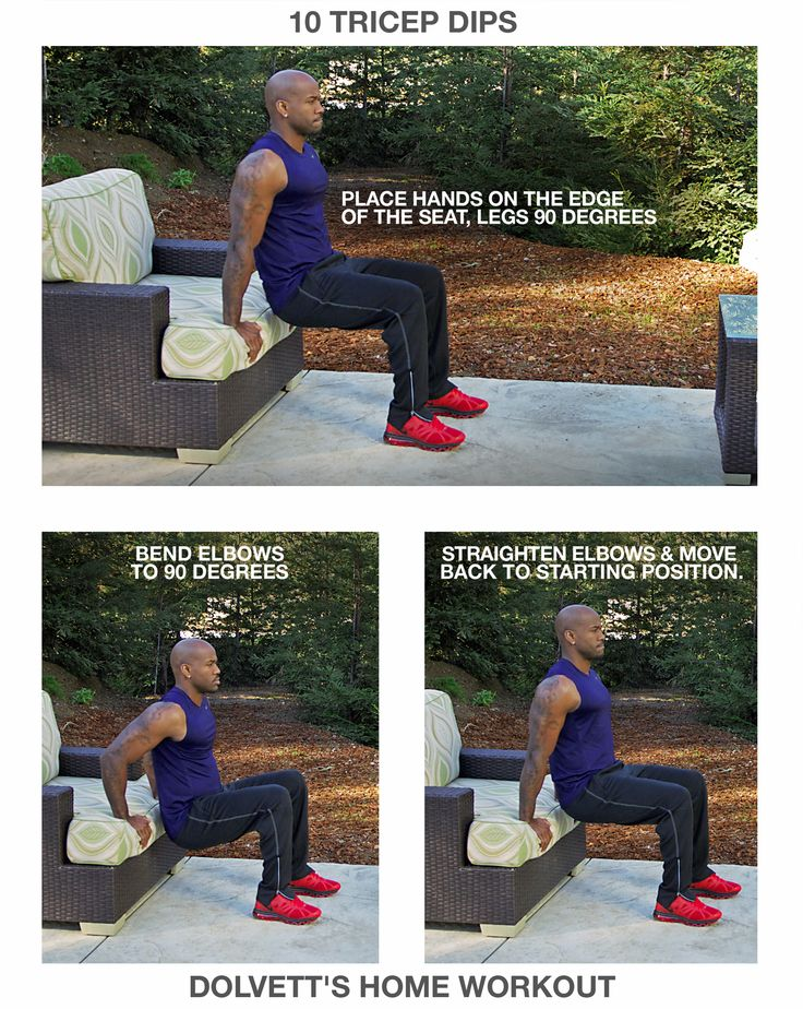 10 Tricep Dips: 1. Place hands on the edge of the seat, legs 90 degrees (wrists facing away from your body, back straight) 2. Bend elbows to 90 degrees (lower butt straight down to hover right above the ground) 3. Straighten elbows and move back to starting position  //  #BiggestLoser #DailyHomeWorkout