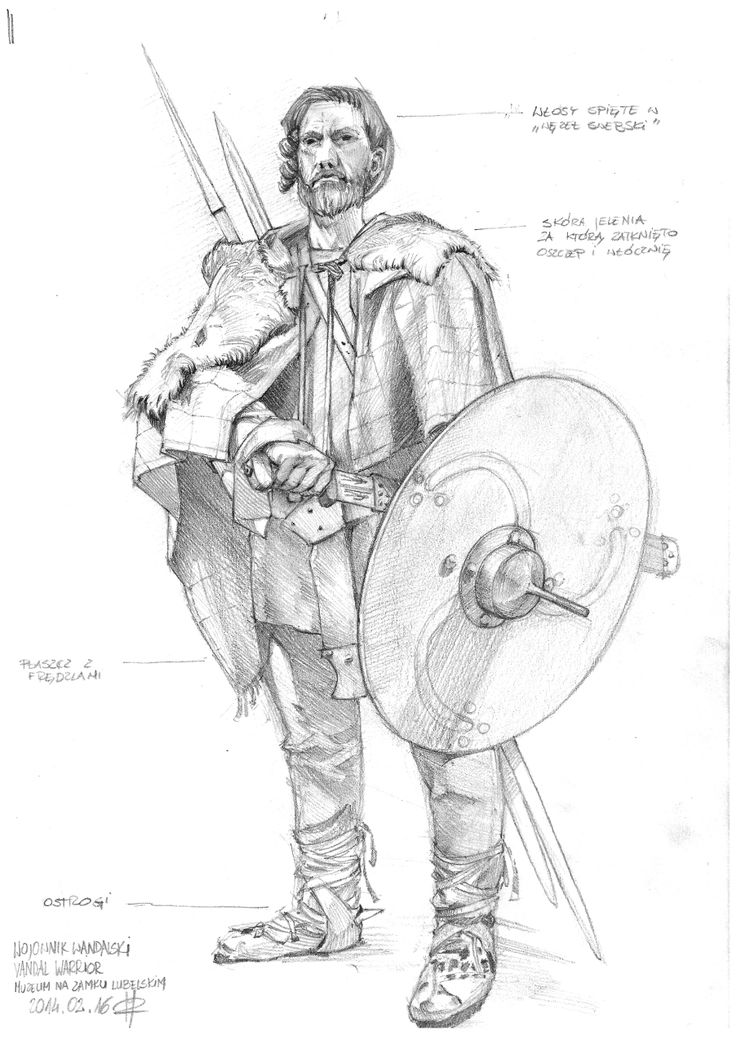 Vandal warrior drawing from figure in Lublin Museum exhibition.
