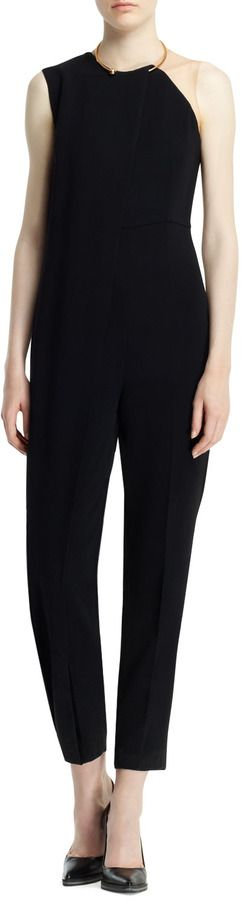 $960, Black Jumpsuit: Stella McCartney Drape Front Jewel Neck Jumpsuit Black. Sold by Neiman Marcus. Click for more info: http://lookastic.com/women/shop_items/62931/redirect