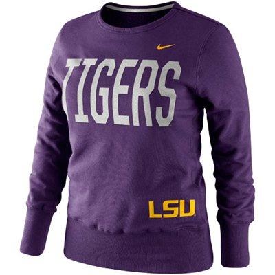 Nike LSU Tigers Ladies Classic Fleece Crew Sweatshirt - Purple #Fanatics