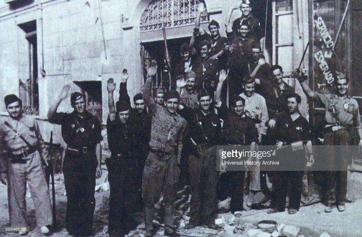 Spain - 1936. - GC - Nationalist army fighting the Republican government inside the Alcazar of Toledo against Republican forces.
