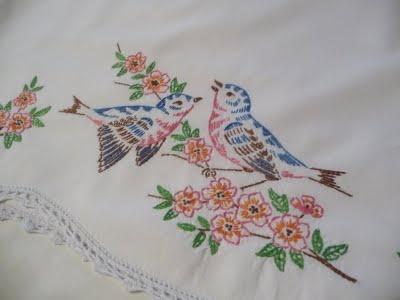 bluebird embroidery vintage pillow case