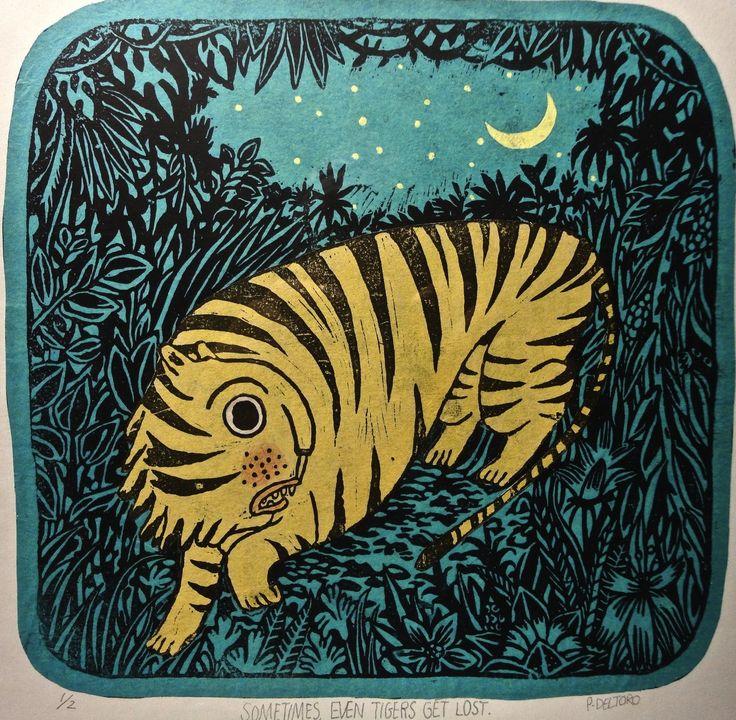 Tiger lino print.: