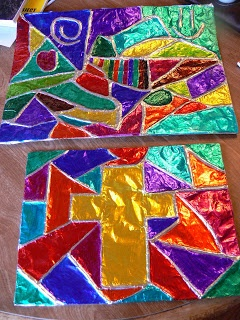 Fun idea for a vibrantly colorful project. From: Adventures in Unsell Land!: Foil Embossed Art