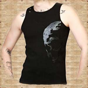 A Black sleeveless top with an impressive skull print on the front side. Metal studs on the shoulder give it a hard edge look. The World Skull Sleeveless T Shirt in the Skulls and Dragons clothing range.    Made from cotton    Ref : SDSH2109311   Price : 34.99 GBP