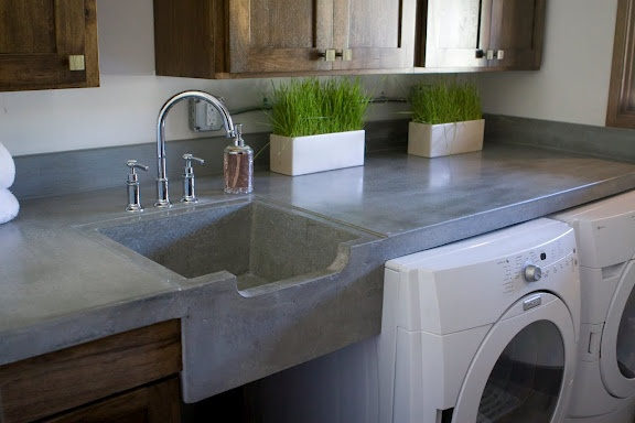 Concrete sink  counter top - What a perfect place to use concrete countertops = In the laundry room!