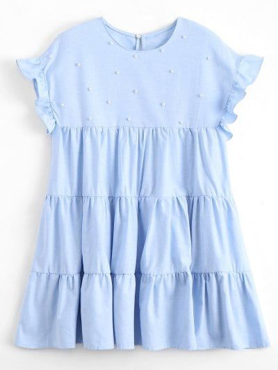 SHARE & Get it FREE | Ruffles Beading Tunic Mini Dress - Light Blue SFor Fashion Lovers only:80,000+ Items • New Arrivals Daily Join Zaful: Get YOUR $50 NOW!