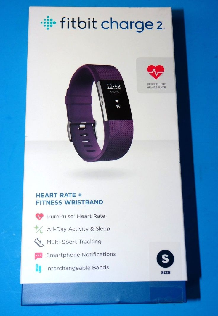 NEW Fitbit Charge 2 Heart Rate  Fitness Wristband - Plum / Small - FB407SPMS