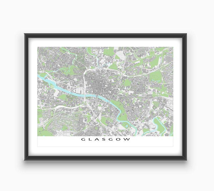 Glasgow Scotland / Glasgow Map / UK City Art Print United Kingdom by MapsAsArt on Etsy
