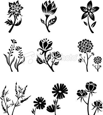 Flower silhouettes Royalty Free Stock Vector Art Illustration